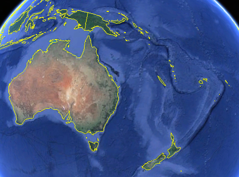 Map of Oceania Region (note: smaller islands are difficult to pick out). Image courtesy of Google Earth.