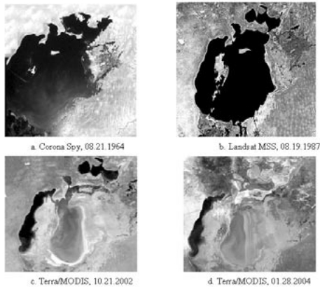 Change of Aral Sea surface during 1964 – 2004. Photo credit: Kreuzberg-Mukhina, E. et al. 2004.